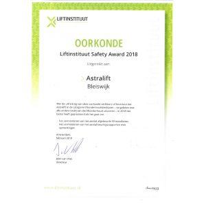 Astralift | Liftinstituut Safety Awards 2018